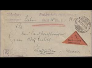 Deutsches Reich Nachnahme-Brief Gerichtskasse HEILIGENSTADT / EICHSFELD 15.11.19