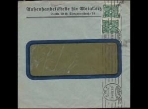 Firmenlochung AME auf Posthorn 4 Mark als MeF auf Brief BERLIN 7.11.22