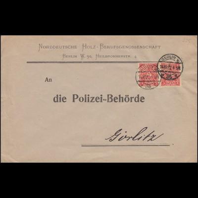 Firmenlochung HOLZ auf 225 Posthorn 3 Mark als MeF auf Brief BERLIN 14.10.22