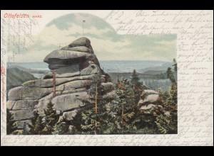 Ansichtskarte Ottofelsen im Harz, HASSERODE 30.7.1904 nach GARMISCH 31.7.04