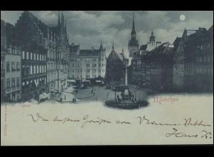 Ansichtskarte Marienplatz MÜNCHEN 27.3.1898 nach KEMPTEN SCHWABEN 27.3.98