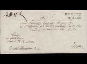 Preußen Vorphilatelie Briefhülle Zweizeiler L2 PYRITZ 4. MÄRT nach Stettin
