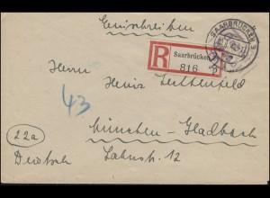 Saarland Gebühr-bezahlt-Stempel auf R-Brief SAARBRÜCKEN 3 - 20.8.1946