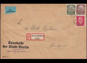Firmenlochung MB auf Hindenburg-Marken als R-Brief BERLIN-NEUKÖLLN 28.9.33