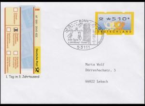 Sonder-R-Zettel 1. Tag im 3. Jahrtausend R-Bf ATM 510 EF SSt BONN 1.1.01