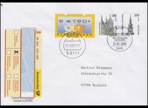 2156+2157 SWK 51+112 C. Sonder-R-Zettel Doppelwährung R-FDC ESSt Bonn 11.1.2001