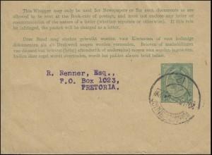 Südafrika Wrapper Streifband 1/2 d Georg V. von JOHANNESBURG 20.1.25 n. Pretoria