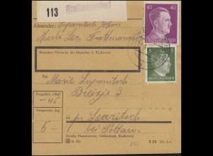 Hitler-MiF 40+5 Pf auf Paketkarte mit Not-Paket-Zettel FRATTMANNSDORF12.4.43