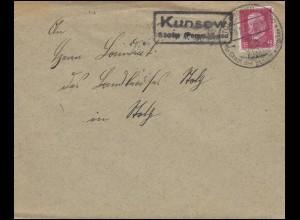 Hindenburg 15 Pf EF Brief Landpost KUNSOW / Stolp, SSt STOLP/POMM-LAND 9.2.31