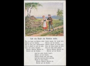 AK Sah ein Knab ein Röslein stehn, Feldpost Rekruten-Depot CÖLN-KALK 9.2.17