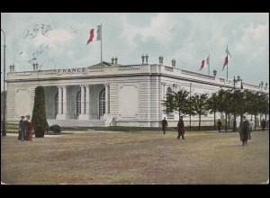 AK Weltausstellung Französisches Staatsgebäude, LEIPZIG 19.7.1914 nach Budapest