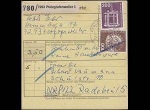 Industrie und Technik 3 Werte als MiF auf Paketkarte PFALZGRAFENWEILER 12.12.78