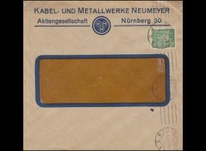 Firmenlochung KMN auf Schnitter-Marke 40 Mark als EF auf Brief NÜRNBERG 28.6.23