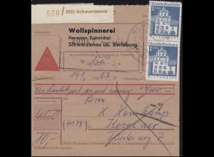 495+500 Bauwerke 50 Pf + 4x 1 DM MiF auf Nachnahmekarte SCHWARZENAU 28.10.68
