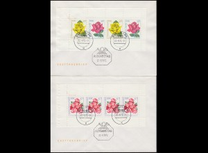 HBl. 14A und HBl. 15A Rosenausstellung-Heftchenblätter auf Blanco-FDC BERLIN ZAW