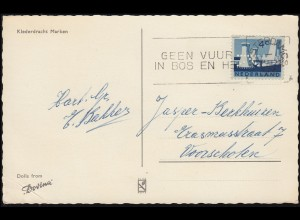 Firmenlochung/Perfin K auf 790 Limburg auf AK Klederdracht Marken AMSTERDAM 1963