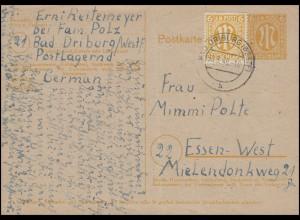 Postkarte P 905 mit Zusatzfrankatur BAD DRIBURG (WESTF) 30.3.46 nach Essen