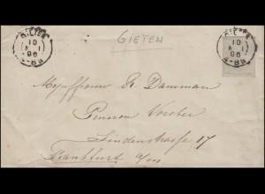Niederlande Umschlag U 2 Wilhelm II. von GIETEN 10.5.96 nach FRANKFURT 11.5.96