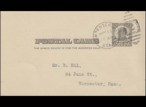 USA-Postkarte US-Präsident William McKinley One Cent Orts-PK WORCESTER 11. MAY
