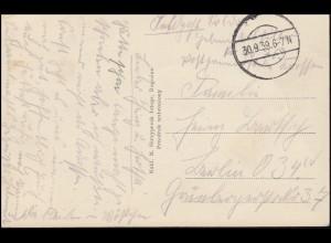 Feldpost 20763 stummer Stempel 30.9.1939 auf AK Rogozno Park nach Berlin