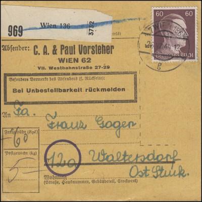 797 Freimarke 60 Pf. EF Paketkarte WIEN 136 - 26.8.44 nach Waltersdorf/Steierm.