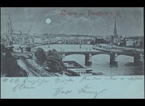 Ansichtskarte Frankfurt/Main Panorama bei Nacht 19.5.1898 nach DESSAU 20.5.98