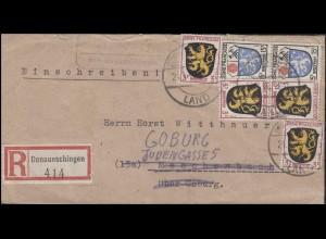Franz. Zone Allgemein R-Brief Landpoststelle ACHDORF über DONAUESCHINGEN 24.1.46