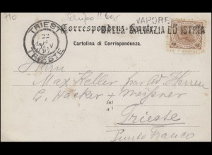 Schiffspost VAPORE DALLA DALMAZIA ED ISTRIA, Ansichtskarte nach Triest 22.8.1897