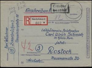 Gebühr-bezahlt-Stempel auf R-Brief SAARBRÜCKEN nach ROSTOCK 6.3.1946