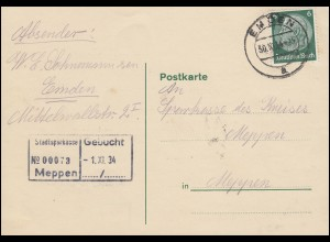 Hindenburg 6 Pf EF Postkarte EMDEN 30.10.34 nach Meppen Stadtsparkasse 1.9.34
