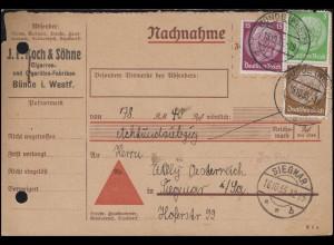 Hindenburg-MiF 3+5+15 Pf. Nachnahmekarte Zigarren und Zigaretten BÜNDE 15.10.35