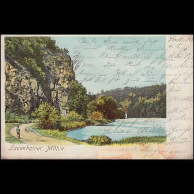 Ansichtskarte Lauenhainer Mühle, MITTWEIDA 2.12.1903 nach ALTMITTWEIDA 2.12.03