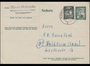 Saarland Postkarte P 40 Karamik 12 F + Zusatzfrankatur WIEBELSKIRCHEN 29.9.1952