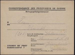 Kriegsgefangenenpost von Frankreich nach Wattenscheid / Deutschland um 1945