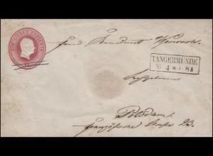 Preußen Umschlag 1 Sgr. rosa, Kastenstempel TANGERMÜNDE 26.4. nach Potsdam 27.4.