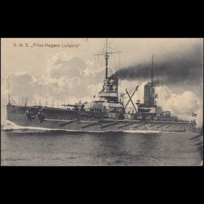 Feldpost auf AK Kreuzer S.M.S. Prinz-Regent Luitpold, WILHELMSHAVEN 8.2.15