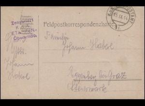 Feldpost 4-Zeiler K.u.K. Etappen-Oberkommando auf PK K.u.K. FELDPOSTAMT 15.9.14