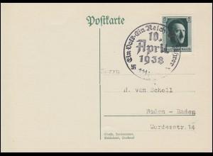 646 Hitler auf Postkarte WIEN 10 April 1938 Ein Volk - Ein Reich - Ein Führer