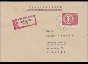 1900 Staatswappen 2 Mark EF R-Brief Tauschsendung DRESDEN 29.5.75 in die Schweiz