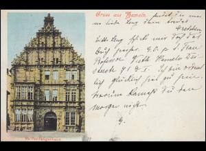 Ansichtskarte Gruss aus Hameln Rattenfängerhaus, 11.4.1901 nach HANNOVER 11.4.01