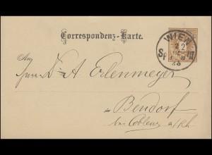 Österreich Postkarte P 43 Doppeladler 2 Kr. WIEN 2.12.85 nach Bendorf / Coblenz