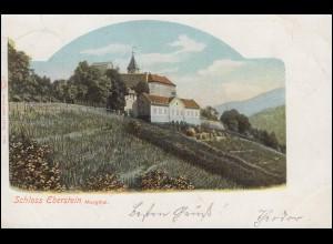 Ansichtskarte Schloss Eberstein Murgthal, GERNSBACH 4.8.1902 nach WANKUM 5.8.02
