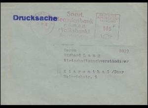 Absenderfreistempel Beamtenbank SAARBRÜCKEN 25.10.58 Währung in Franc