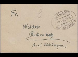 Gebühr-bezahlt-Stempel Damenbrief SÄCKINGEN 2.1.46 nach Rickenbach