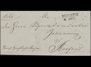 Preußen Vorphilatelie Briefhülle Zweizeiler L2 MINDEN 2. DEC. nach Herford