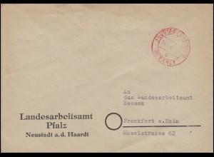 Gebühr-bezahlt-Stempel auf Brief NEUSTADT (WEINSTR.) 14.2.47 nach Frankfurt/Main