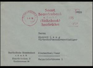 Absenderfreistempel Beamtenbank Volksbank SAARBRÜCKEN 5.6.56 nach Klarenthal