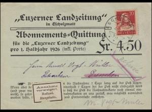 Abonnement-Quittung Luzerner Landzeitung ESCHOLZMATT 4.1.26 nach GRENCHEN 6.1.26