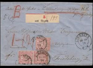 Norddeutscher Bund 4 Ziffer MeF auf Paketbegleitbrief LIEGNITZ 10.10.70