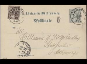 Württemberg Postkarte P 41 Ziffer 2 Pf + Zusatzfr. DV: 21 3 01 ELLWANGEN 27.8.01